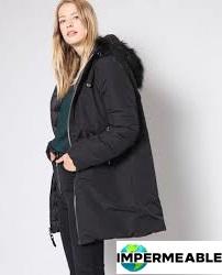 abrigo impermeable negro mujer